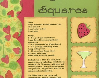 Stawberry Margarita Squares, 1 Page 8 1/2 x 11 Recipe Scrapbook Layout, Premade Scrapbook Recipe, Ready to Assemble Recipe Layout