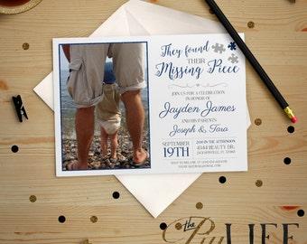 Blue Found their Missing Piece Adoption Party Photo Baby Shower Invitation Printable DIY No. I232