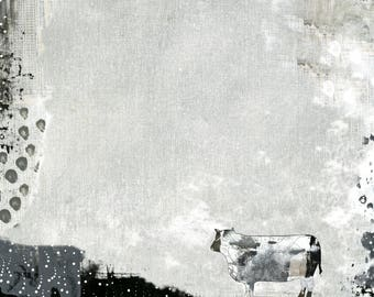 Farm Animal Wall Art - Printable Cow Print , Farmhouse Decor, Modern Art Digital Print and Cow Decor