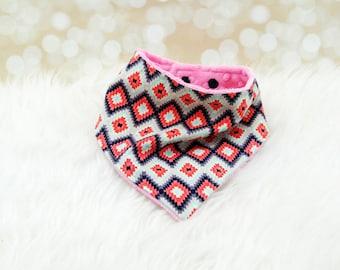Minky Bandana Bib (CORAL AZTEC) - reversible bandana bib, minky bib, minky bibdana, baby shower gift, soft bibdana, minky baby bib