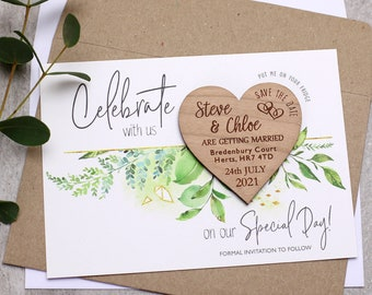 Wood Save The Date Magnet with Cards, Spring Summer Garden Wedding Invitation, Rustic Boho Wedding Save the Date Magnets