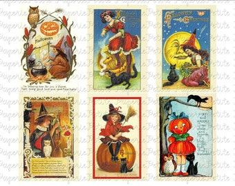 Vintage Halloween Postcard Digital Download Collage Sheet H 2.75 x 4 inch