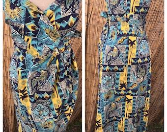 1950's Tiki Goddesss Blue turquoise and Yellow  sarong dress VLV rockabilly pin up