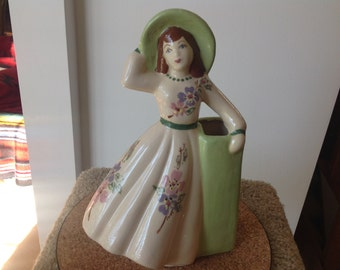 Vintage Southern Belle Ceramic Vase Planter California Pottery Weil Ware
