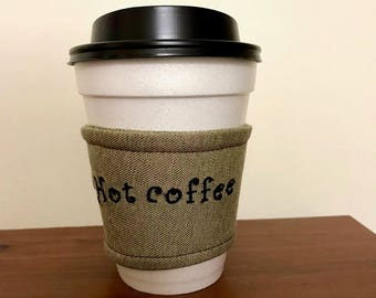 Embroidered coffee cup cozy Fabric coffee cup sleeve Custom coffee sleeve Cup caddy Coffee cup cozy Embroidered cozy Hot drinkware cozy