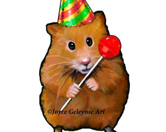 Clip Art: Freehand Drawing Cute Hamster Holding a Lollipop and Wearing A Party Hat, Commercial Use, INSTANT DOWNLOAD, Scrapbooking, Cards
