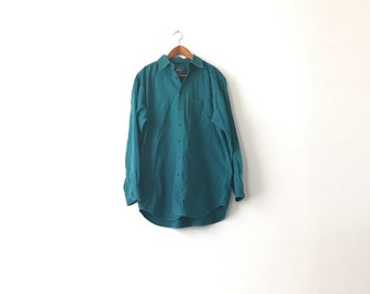 Thick Teal Woolrich Button Shirt - Large / 80s / Woolrich Shirt / Teal Shirt / Thick Shirt / Workwear / Woolrich / 80s Woolrich / Woolrich