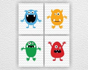 INSTANT DOWNLOAD Little monsters Chevron Nursery Printable Baby Boy Room Playroom wall art digital prints Set of 4, 8x10