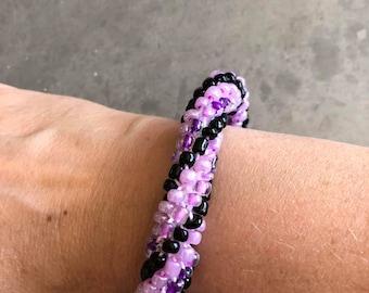 Beaded Bracelet - Bead Crochet Bracelet - Crochet Bracelet - Seed Bead Jewelry - Mothers Day Gift - Purple Bracelet - Crochet Jewelry