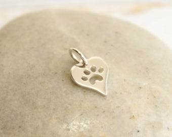 925 Sterling Silver Heart Paw Print Charm -- One Piece