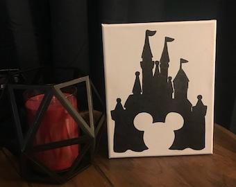 Disney Castle & Mickey Canvas Sign