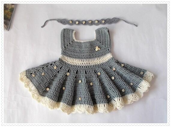 Stricken Häkeln Baby Kleid Neugeborenen-Kleider graue Baby