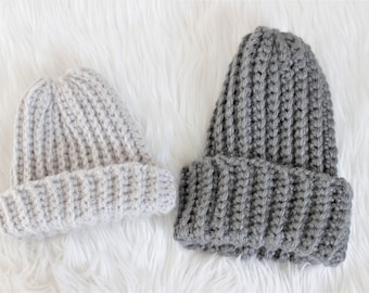 Mommy and Me Crochet ribbed beanie set