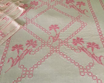 Pink Linen Cross Stitch Crochet Lace Trimmed Rectangle Tablecloth with Napkins Estate Find Handmade Vintage