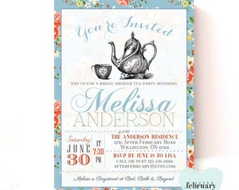 Baby shower Tea Party Invitation - Baby Shower Invitation - Vintage Tea Party - Country Blue - Printable OR Printed No.189BABY