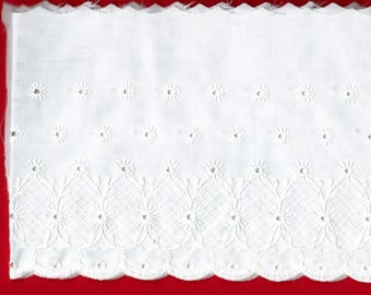 "EYELET TRIM -3 yard x 6"" wide.  White. For skirts, valances, crafting projects, childrens clothing. Brand new."
