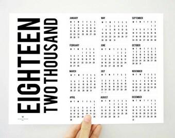 Very Fat 2018 Printable Calendar, Yearly Calendar, Two Thousand Eighteen Calendar, 2018 Planner, Wall Calendar, Student Gift, PDF Calendar