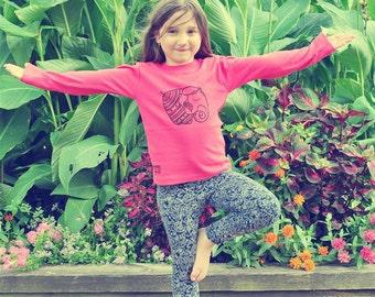 SALE! Size 4T, Elephant shirt, Gypsy girl, Yoga girls shirt, Toddler winter shirt, Girl winter clothing, Boho Girl Clothes, Hippie Girl top