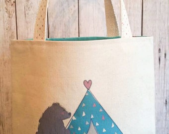 Camp tote,kid's camping tote,Vacation bag,Forest animal tote,Tee Pee