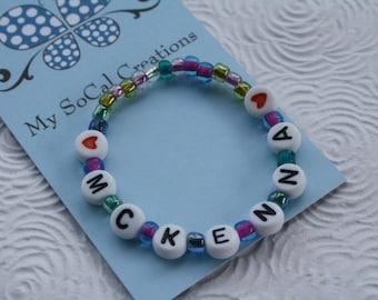 Personalized Name Bracelet ID Bracelet/Stretch ID Bracelet/Best Friends Bracelet/Party Favor/Any Name/Any Word/Any Phrase