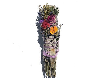 Wild Flower Ritual floral Smudge stick Home Arua Cleansing Meditation Quartz Crystal Quartz crystal infused mothersday