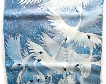 Hand painted silk scarf - White swans. White, grey, blue. Bird scarf.
