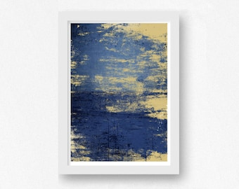 Art Print Blue and Gold, Abstract Print, Digital Download, Printable Wall Art, Abstract Art Print, 8x10 print, 11x14 print, 16x20 print