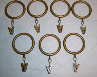 "Spring Clip Curtain Rings Instant Window Treatment Hardware Aged Brass 1.5"" Rod Lot 7"