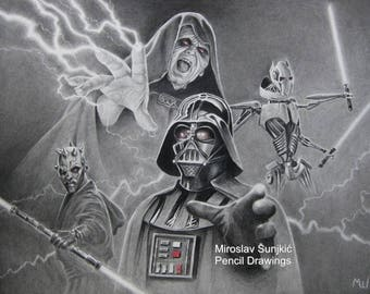 Star Wars Artwork Print - Dark Side of the Force - Star Wars Pencil Drawing - Darth Vader, Sidious, Maul and General Grievous