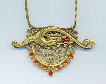 Antique Gold Dragon Gothic Pendant, Halloween Jewel, Vintage Filigree, Brass Stamping, Swarovski Rhinestones- Dragon's Fire by enchantedbeas