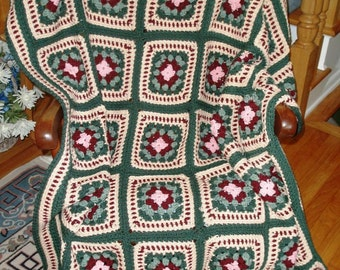 Granny Square Afghan- greens (1130851) (A-12)