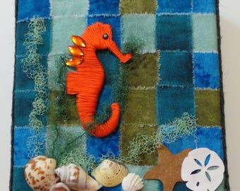 Mixed Media Canvas Seahorse, Seashells, Starfish, Sand Dollar