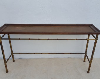 Italian Hollywood Regency  Faux - Bamboo  Console Table .