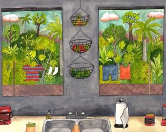 Puerto Rican Kitchen Art Decor Print Wallart