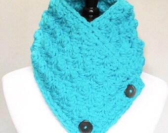 Aqua Blue Button Cowl, Chunky Neck Warmer, Wrap Scarf, Collar - Crochet, Sedge, Bright Aqua, Teal