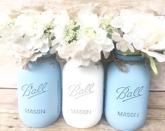 Set of 3 Quart Size Hand Painted and Distressed Mason Jars,Wedding Centerpieces,Spring Wedding,Baby Shower,Bridal Shower,Home Decor,Blue!
