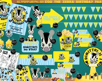 Zou the Zebra Printable Birthday Party Pack - DIY - including Invitation, streamer, yard sign, face mask and much more