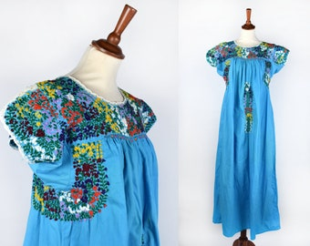 Hand Embroidered Turquoise Huipil Dress with Lace Details    Mexican Dress    Tent Dress    Boho Dress