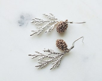 Earrings, pinecone earrings, nature inspired woodland wedding jewelry.