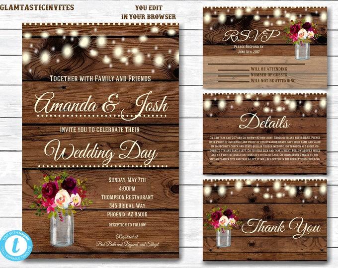 Wedding Invitation Template Suite, Rustic Wedding Invitation Printable, Country Wedding Invitation, Digital file, You Edit, Instant Download