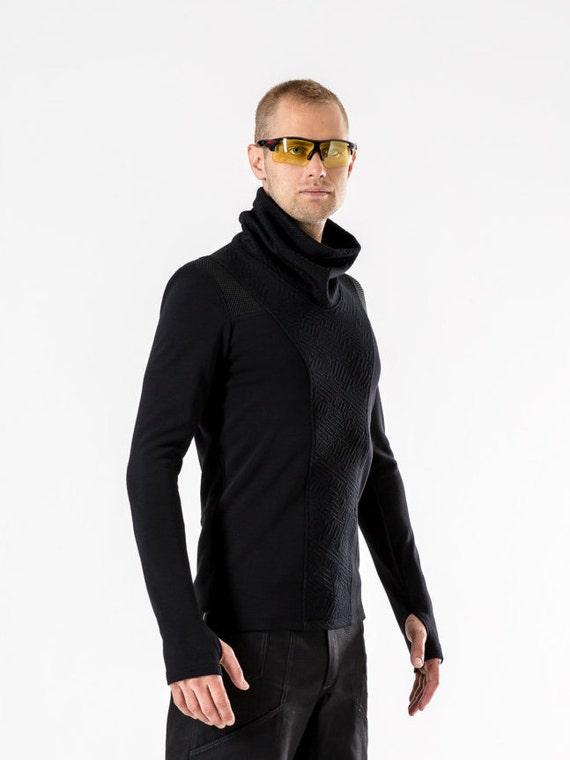 Cyberpunk sweater avant garde clothing futuristic for men Thumbhole sweater asymmetrical clothing sci-fi turtleneck sweater black GR3 Tvpz2lx6o