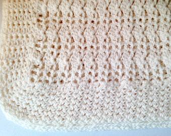 Baby crochet blanket, aran weight, cream, Throw, Afghan, baby, toddler, blanket, baby blanket, pram, cover
