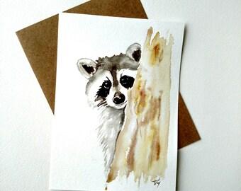 Raccoon painting Watercolor Card - Original Watercolor Fine Art , nursery decor, animal art painting, wall art, watercolor
