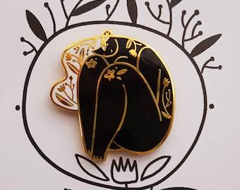 SHYSHY - BLACK - enamel pin Black White gold floral hard enamel