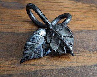 Hand forged Leaf Keychain Pendant