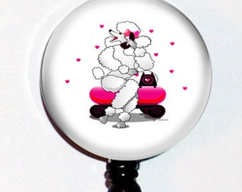 White French Poodle Retro Phone Pink Hearts  Designer Gift Retractable ID Badge Holder Reel Clip