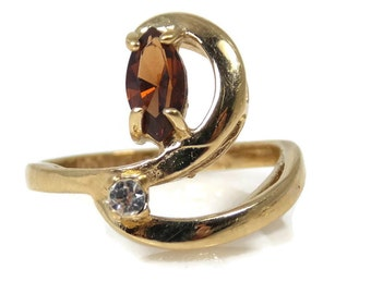 Uncas Honey Topaz CZ Ring Size 6 18K Gold Plated