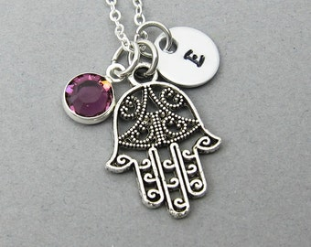 Hamsa Hand Necklace - Khamsa Amulet, Personalized Initial Name, Customized Swarovski crystal birthstone