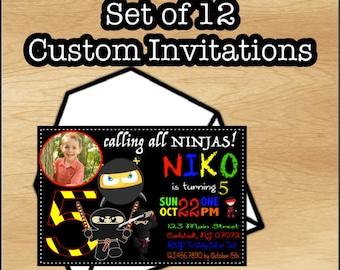 Set of 12 Ninja Birthday Invitation, Ninja Boy Birthday Boy, Karate Birthday Invitation, Ninja Party Invitation, Ninjas, FREE envelopes