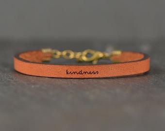 kindness bracelet | kindness leather | encouragement gift | throw kindness around like confetti | be kind | babysitter gift | laurel denise
